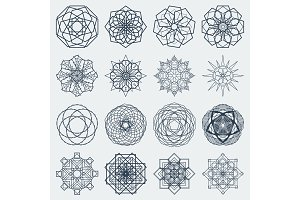 Sixteen vector round mandalas