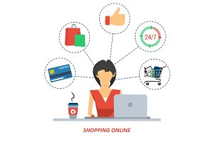 Woman on shopping online