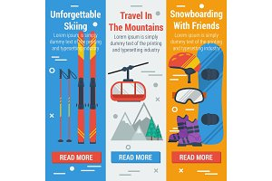Vertical banners skiing and