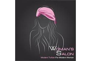Woman look at side in pink turban on