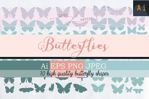 Set of vector butterfly shapes