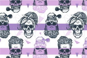 Skull. Seamless pattern