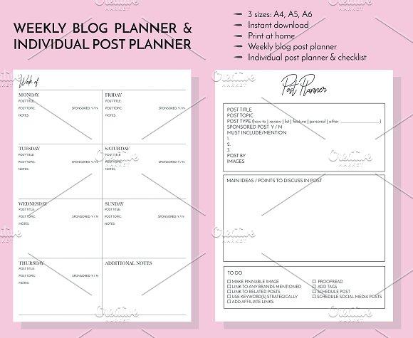 Weekly blogger planner kit instagram templates creative daddy maxwellsz