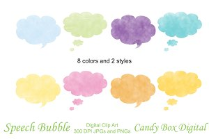 Watercolor Clipart - Speech Bubbles