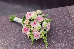 Pink pastel bouquet with dew drops