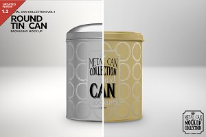 Round Tall Tin Can Packaging Mockup