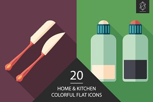 Home and kitchen flat icon set