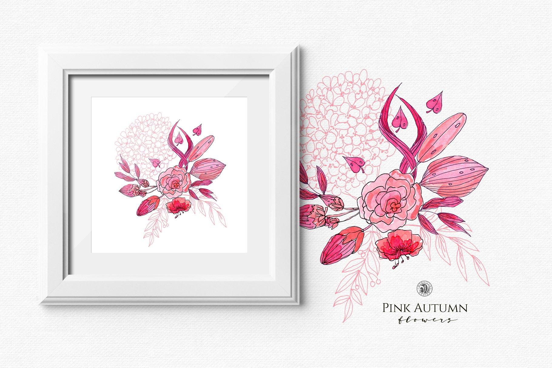 Pink Autumn Flowers Illustrations Creative Market Pro