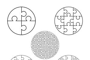White puzzles pieces in round shapes