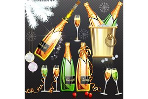 Champagne holiday flat set vector