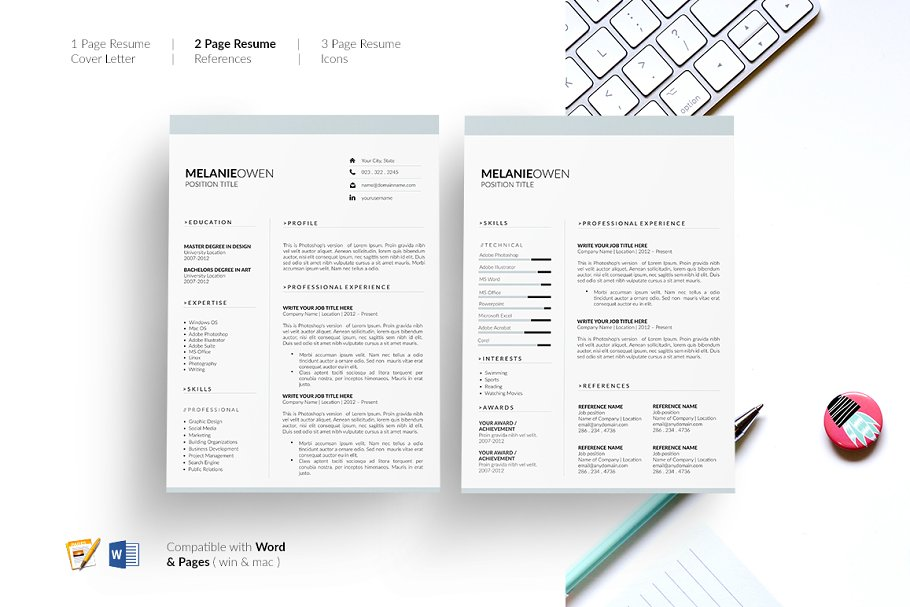 5 Page Resume Cv Template Resume Creative Resume Templates