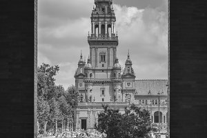Monochrome frame of Plaza de Espana