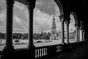 Panoramic monochrome Plaza de Espana