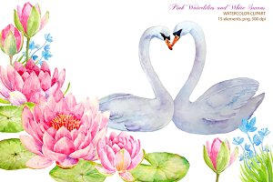 Wedding Clipart Waterlily and Swans