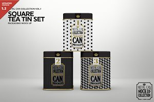 Square Tea Tin Set Packaging Mockup