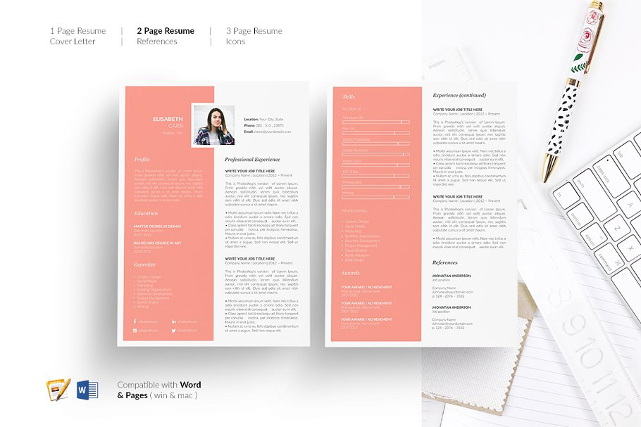 Resume Template 5 Pages. CV Design ~ Resume Templates ...