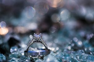 Wedding Rings laying in Crystals