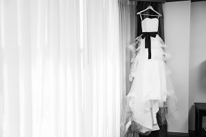 Hanging Black & White Wedding Dress