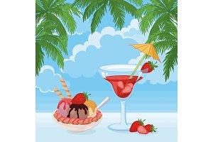 Ice Cream, Berry Cocktail, Sky