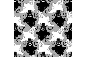 Seamless Halloween Pattern, Ghosts