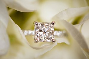 Diamond Wedding Ring in a Flower