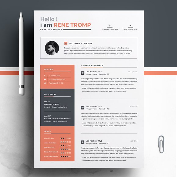 1 page professional resume template resumes