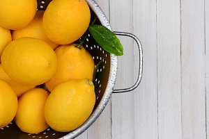 Colander Full of Fresh Picked Lemons