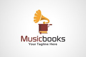 Music Books Logo Template