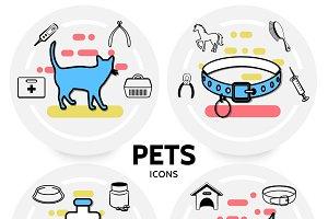 Pets line icons concept
