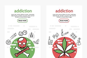 Harmful addictions vertical banners