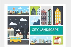 City landscape infographic concept