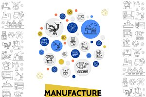 Manufacturing line icons template