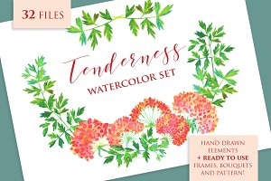 Tenderness / watercolor floral set