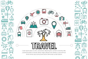 Travel line icons template