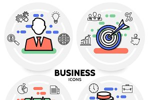 Business line icons concept