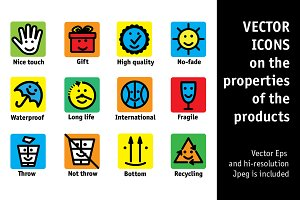 Vector icons properties of products