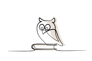 Continuous one line drawing. Owl