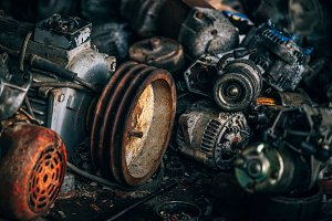 Rusty Automotive Engines Scrapyard