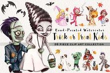 Watercolor Trick or Treat Kids