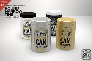 Round Narrow Tins Packaging Mockup