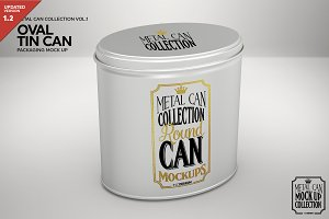 Oval Tin Can Packaging Mockup