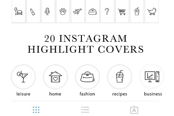 Instagram Highlights Icon Set in Graphics