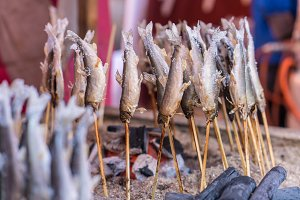 Salted grilled fish on the grill