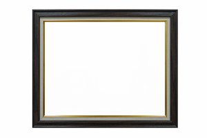 wood empty picture frame Isolated