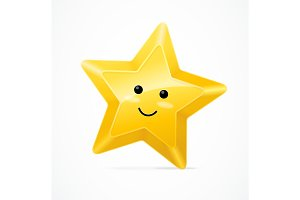 Golden Star Cute Character. Vector