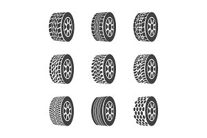 Tire or Wheel  Set. Vector