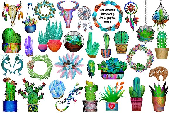 Cactus boho. Watercolor southwestern