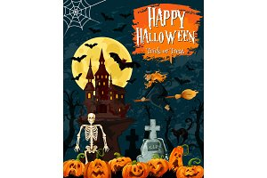Halloween greeting card with ghost