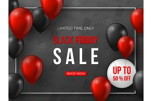 Black Friday sale banner. 3d red and