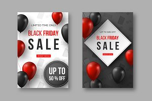 Black Friday sale posters. 3d red